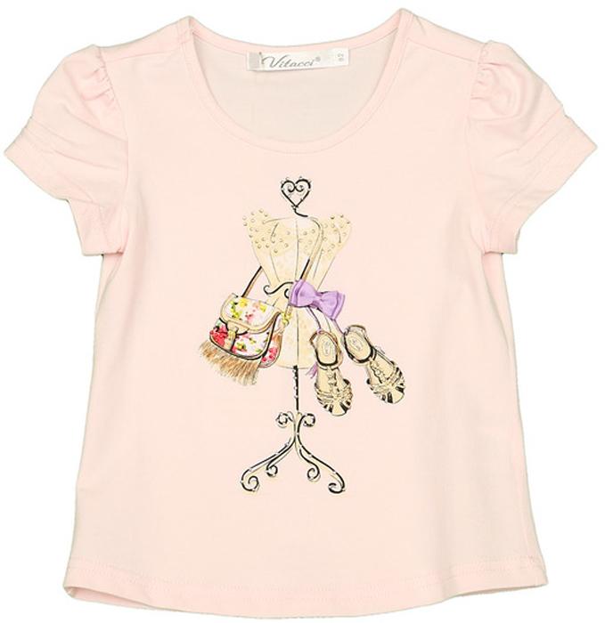 Футболка для девочки Vitacci, цвет: розовый. 2152437-11. Размер 922152437-11Оригинальная футболка на девочку с принтом, оформленным стразами, не оставит равнодушной ни одну маленькую модницу.