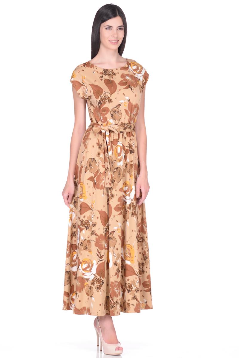 Платье EseMos, цвет: бежевый, светло-коричневый. 103. Размер 44103Великолепное платье EseMos в пол, изготовленное из струящегося материала масло в изысканной современной расцветке. Женственный силуэт без рукавов, изящно присобран по талии на мягкую резинку, образуя плавные ниспадающие складки по юбке-макси. Талию подчеркивает пояс-завязка, придает свою изюминку, делая образ совершенным. Платье в пол популярно в этом сезоне. Модель превосходно садится, красиво обрисовывая фигуру, визуально корректирует силуэт, делая образ более стройным и привлекательным.