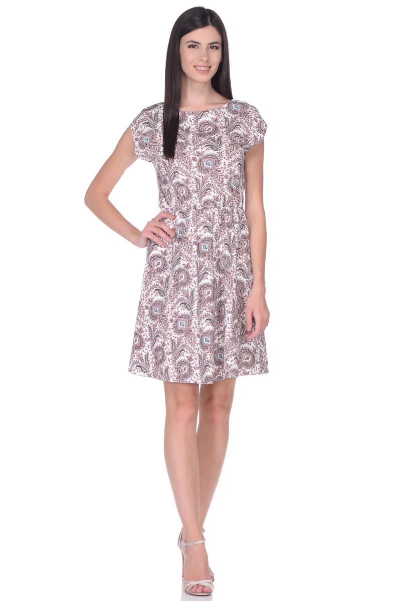 Платье жен EseMos, цвет: молочный, розовый, бирюзовый. 106. Размер 44106Легкое платье, изготовленное из струящейся ткани в изысканной современной расцветке. Женственный силуэт без рукавов, изящно присобран по талии на мягкую резиночку, образуя красивую драпировку. Спущенная пройма лишь слегка прикрывает плечи. Платье имеет подьюбник, который помогает держать форму, не утяжеляя при этом платье. Модель превосходно садится по фигуре, скрывая возможные несовершенства, подчеркивает достоинства, дарит ощущения легкости и комфорта.