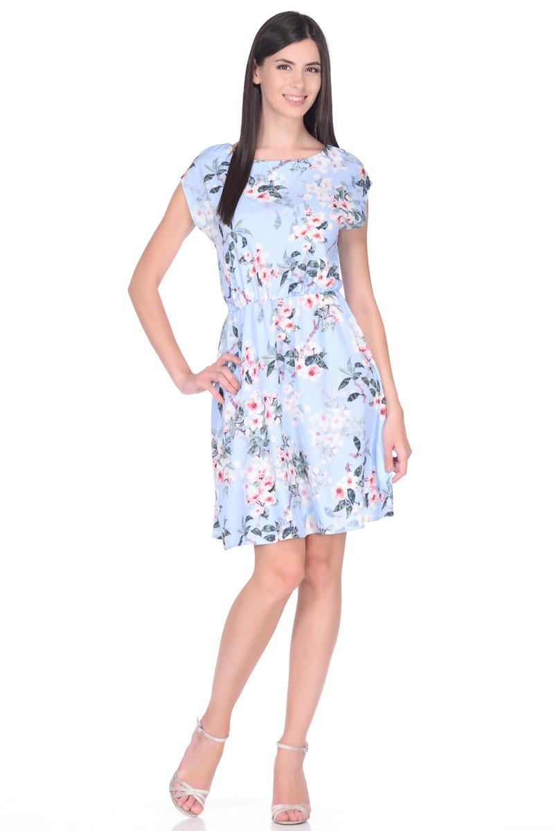 Платье жен EseMos, цвет: голубой, розовый. 108. Размер 50108Яркое летнее платье EseMos выполнено из струящейся ткани в изысканной современной расцветке. Женственный силуэт без рукавов, изящно присобран по талии на мягкую резиночку, образуя плавные ниспадающие складки по юбке. Спущенная пройма лишь слегка прикрывает плечи. Модель превосходно садится по фигуре, скрывая возможные несовершенства, подчеркивает достоинства, дарит ощущения легкости и комфорта.