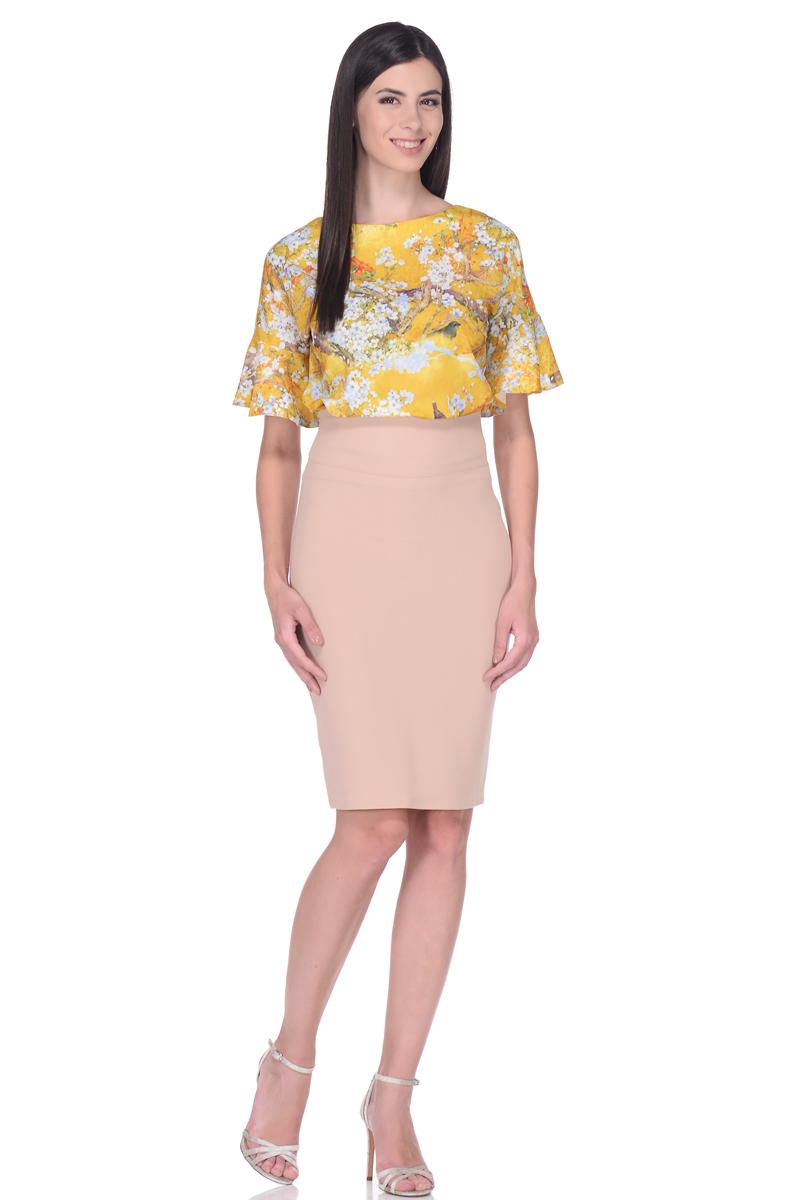 Блузка жен EseMos, цвет: желтый, голубой, зеленый. 110. Размер 46110Элегантная блузка, из легкого материала в изысканной расцветке. Модель прямого покроя, с округлым вырезом горловины. Короткие цельнокроеные рукава оформлены великолепными воланами, которые эффектно украшают лаконичный фасон. Блузка превосходно садится по фигуре, обеспечивая комфорт. Красивая расцветка на ткани привлекает внимание, подчеркивает женственность, придавая образу еще больше очарования.