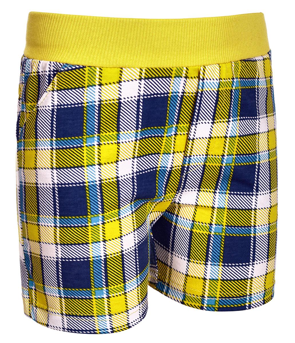 Шорты для мальчика M&D, цвет: желтый, темно-синий, белый. М37802. Размер 122М37802Шорты для мальчика от M&D выполнены из натурального хлопка и оформлены оригинальным принтом. Модель имеет эластичные пояс на талии. По бокам расположены втачные карманы.