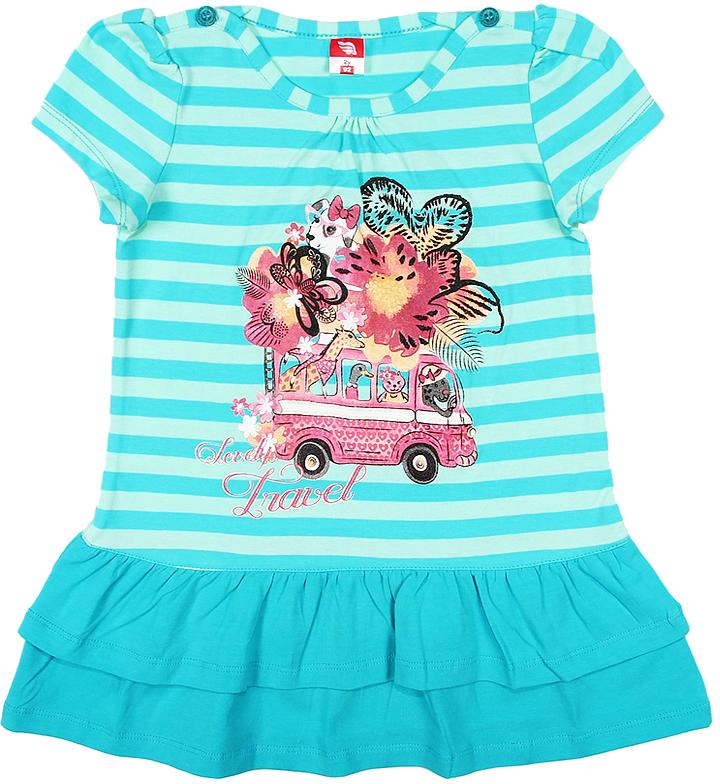 Платье для девочки Cherubino, цвет: бирюзовый. CAK 61181. Размер 98CAK 61181Платье для девочки Cherubino с коротким рукавом, верх выполнен из полосатого трикотажа, по низу - воланы из однотонного материала. Декорировано принтом. Модель очень мягкая и легкая, не раздражает нежную кожу ребенка и хорошо вентилируется.