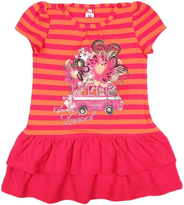 Платье для девочки Cherubino, цвет: розовый. CAK 61181. Размер 104CAK 61181Платье для девочки Cherubino с коротким рукавом, верх выполнен из полосатого трикотажа, по низу - воланы из однотонного материала. Декорировано принтом. Модель очень мягкая и легкая, не раздражает нежную кожу ребенка и хорошо вентилируется.