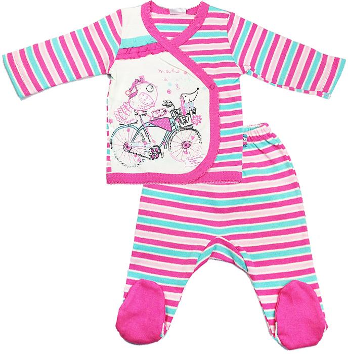 Комплект для девочки Cherubino, цвет: экрю, розовый, 5 предметов. CAN 9407. Размер 68CAN 9407Комплект для девочки Cherubino из тонкого трикотажа (интерлок). Состоит из 5 предметов: кофточки, ползунков, шапочки, рукавичек и нагрудника.