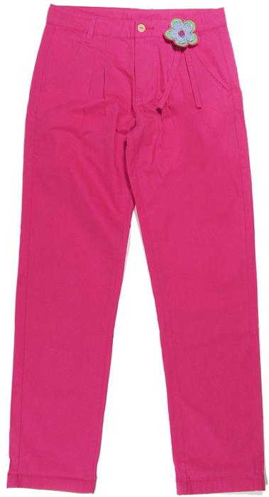 Брюки для девочки Cherubino, цвет: розовый. CJ 7T032. Размер 128CJ 7T032Брюки для девочки Cherubino изготовлены из хлопкового текстиля. Брюки украшены декоративным цветком.