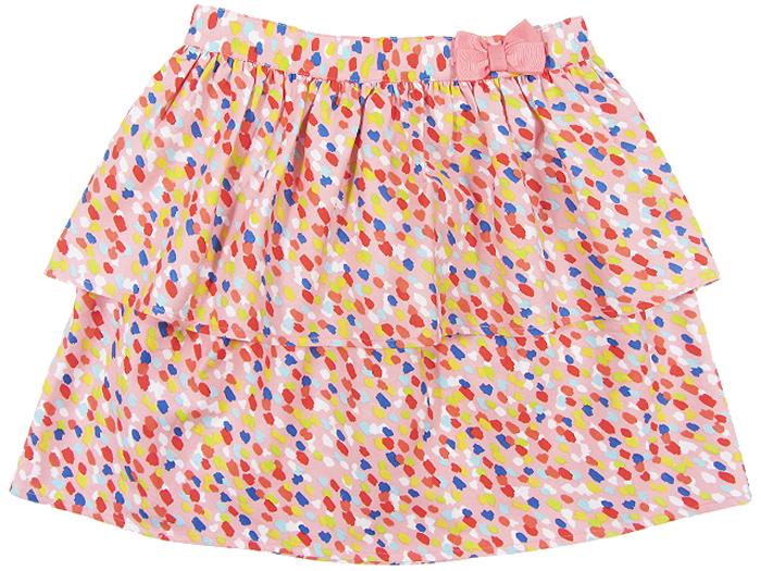 Юбка для девочки Cherubino, цвет: коралловый. CJ 7T033. Размер 146CJ 7T033Юбка для девочки Cherubino из тонкого хлопкового набивного текстиля. Двухслойная, пояс украшен декоративным бантом.