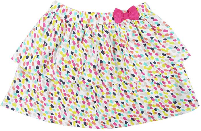Юбка для девочки Cherubino, цвет: розовый. CJ 7T033. Размер 134CJ 7T033Юбка для девочки Cherubino из тонкого хлопкового набивного текстиля. Двухслойная, пояс украшен декоративным бантом.