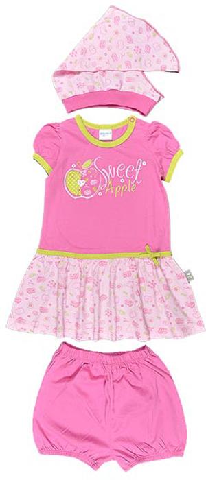 Комплект для девочки Cherubino: платье, трусики, косынка, цвет: розовый. CSB 9194 (05). Размер 92CSB 9194 (05)Комплект для девочки Cherubino изготовлен из хлопка, состоит из платья, трусиков на памперс и косынки. Он очень приятный на ощупь, не раздражает нежную и чувствительную кожу ребенка, позволяя ей дышать. Украшен принтом.