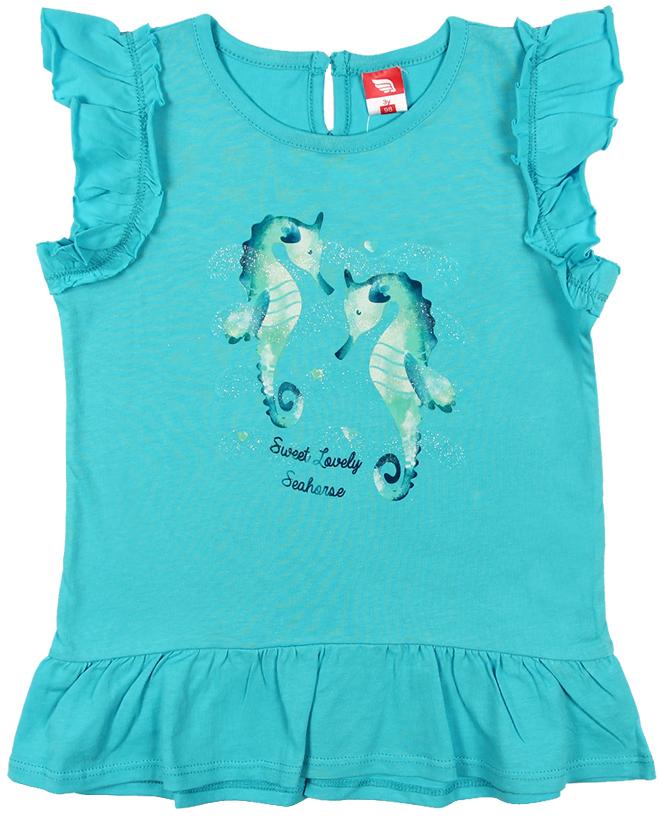 Платье для девочки Cherubino, цвет: бирюзовый. CSB 61549 (144). Размер 86CSB 61549 (144)Платье для девочки Cherubino изготовлено из натурального хлопка. Однотонная модель оформлена оригинальным принтом и рукавами-крылышками.