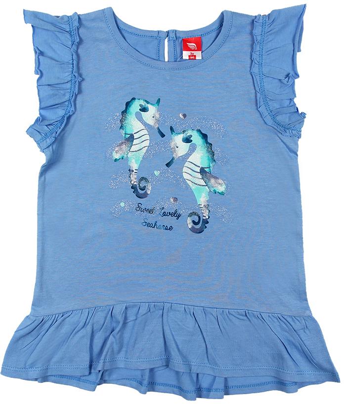 Платье для девочки Cherubino, цвет: голубой. CSB 61549 (144). Размер 92CSB 61549 (144)Платье для девочки Cherubino изготовлено из натурального хлопка. Однотонная модель оформлена оригинальным принтом и рукавами-крылышками.