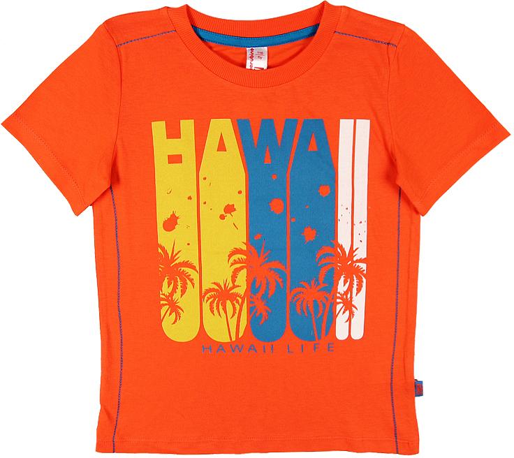 Футболка для мальчика Cherubino, цвет: оранжевый. CSK 61575 (147). Размер 110CSK 61575 (147)Футболка для мальчика Cherubino изготовлена из натурального хлопка. Однотонная модель оформлена оригинальным принтом.