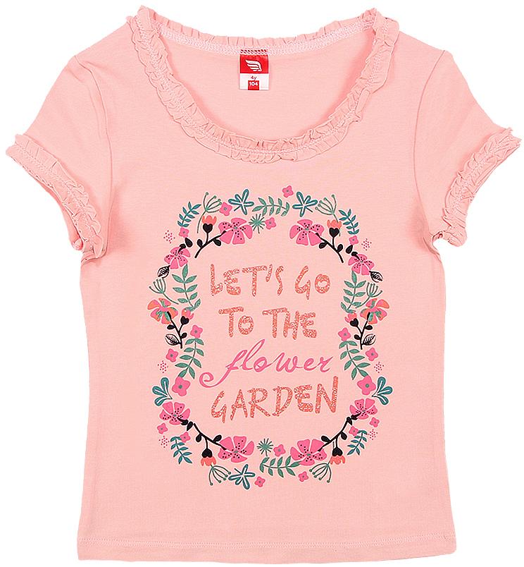 Футболка для девочки Cherubino, цвет: розовый. CSK 61573. Размер 104CSK 61573Футболка для девочки Cherubino изготовлена из хлопка и эластана. Однотонная модель оформлена принтом.