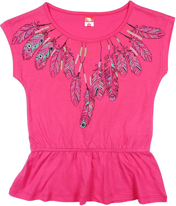 Туника для девочки Cherubino, цвет: розовый. CSK 61625 (154). Размер 122CSK 61625 (154)Туника для девочки Cherubino изготовлена из натурального хлопка.Однотонная модель оформлена оригинальным принтом.