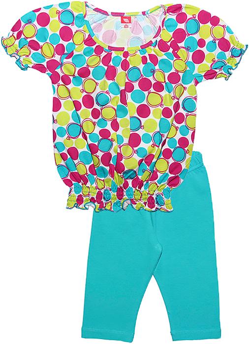 Комплект одежды для девочки Cherubino: футболка, бриджи, цвет: бирюзовый. CSK 9588 (125). Размер 104CSK 9588 (125)Летний комплект для девочки Cherubino выполнен из хлопка с добавлением эластана. Комплект состоит из набивной футболки, у которой низ и рукава собраны на тонкие резиночки и ярких бридж.