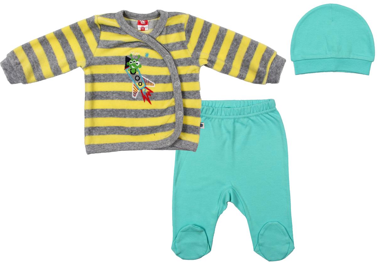 Комплект для мальчика Cherubino: кофточка, ползунки, шапочка, цвет: желтый. CWN 9531 (131). Размер 62CWN 9531 (131)Комплект для мальчика Cherubino изготовлен из мягкого велюра. Комплект состоит из полосатого джемпера на кнопках, однотонных ползунков на резиночке и шапочки.