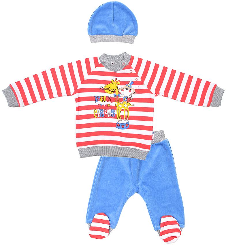 Комплект для мальчика Cherubino: джемпер, брюки, шапочка, цвет: красный, синий. CWN 9419. Размер 68CWN 9419Комплект для мальчика Cherubino изготовлен из натурального хлопка. Комплект состоит из полосатого джемпера с принтом, однотонных ползунков и шапочки.