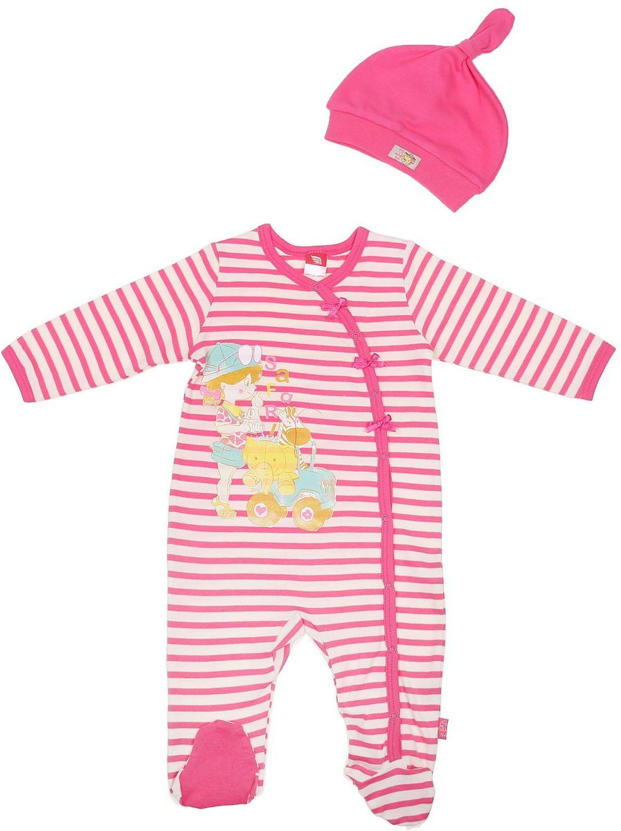 Комплект для девочки Cherubino: комбинезон, шапочка, цвет: розовый. CAB 9459. Размер 68CAB 9459Комплект ясельный для девочки Cherubino, состоит из полосатого комбинезона на кнопках и гладкокрашенной шапочки.