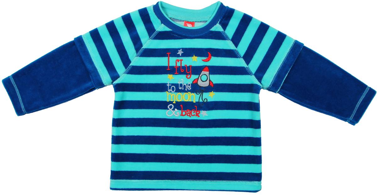 Джемпер для мальчика Cherubino, цвет: синий. CWB 61491. Размер 86CWB 61491Джемпер для мальчика Cherubino изготовлен из хлопка с добавлением полиэстера. Джемпер выполнен из комбинированного велюра и украшен принтом.