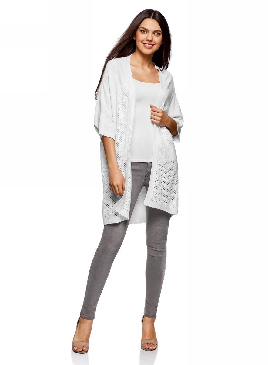 Жакет жен oodji Ultra, цвет: белый. 63212585/46792/1000N. Размер M (46)63212585/46792/1000NДжемпер ажурной вязки с рукавом летучая мышь