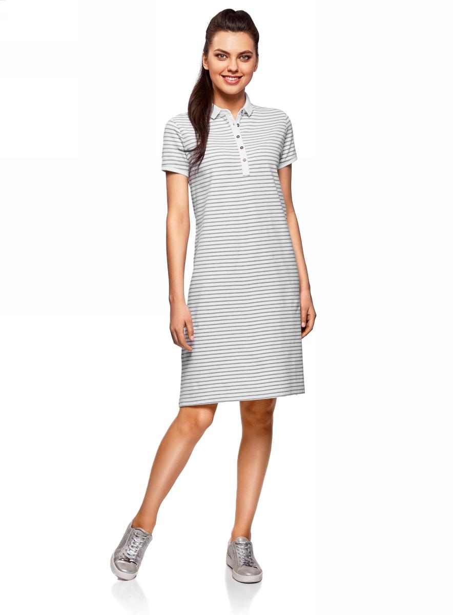 Платье жен oodji Collection, цвет: серый, белый, полоски. 24001118-4/47540/2310S. Размер XS (42)24001118-4/47540/2310SПлатье поло из ткани пике