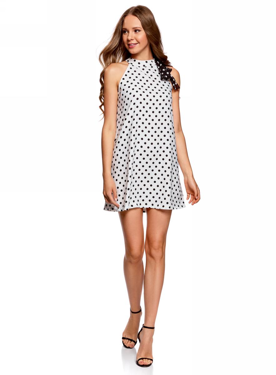 Платье жен oodji Ultra, цвет: белый, черный, горох. 11914004/42818/1229D. Размер 40-170 (46-170)11914004/42818/1229DПлатье А-образного силуэта с бантом