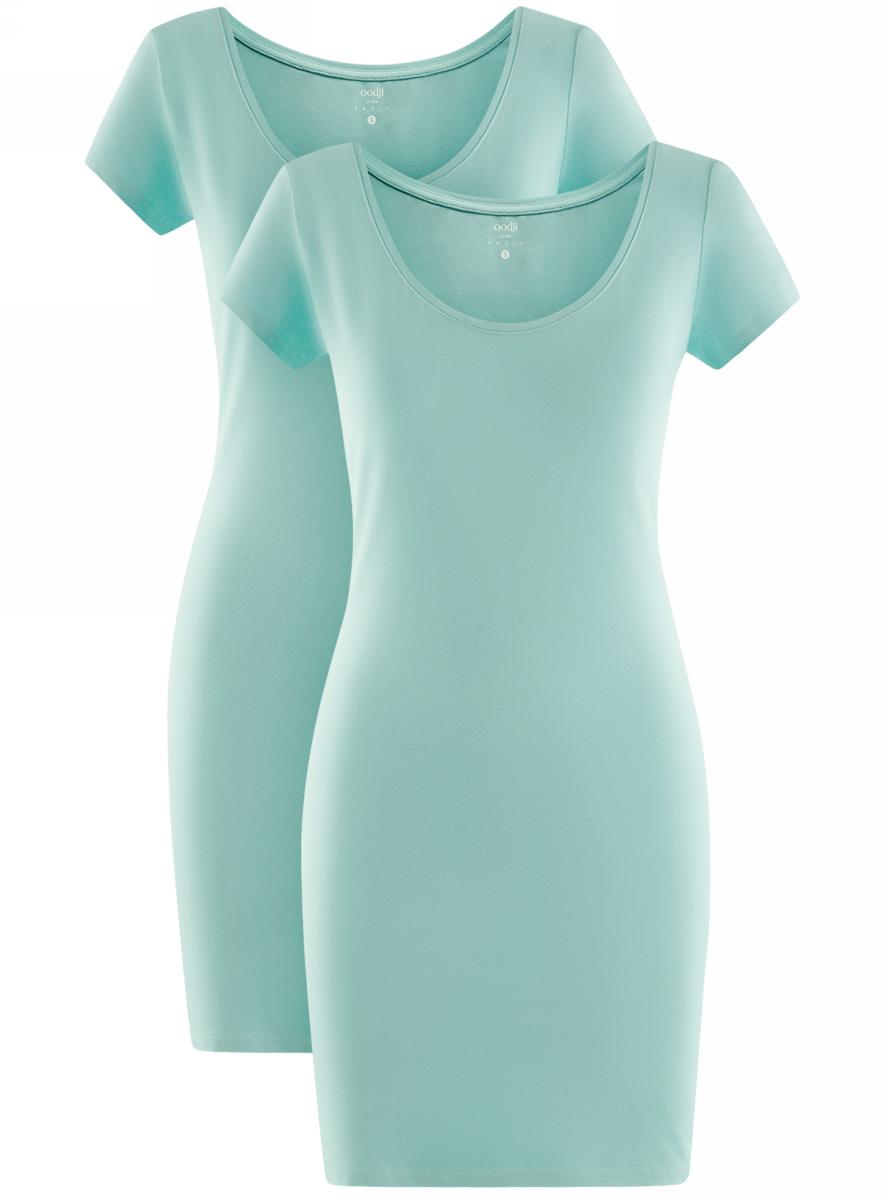 Платье жен oodji Ultra, цвет: бирюзовый, 2 шт. 14001182T2/47420/7300N. Размер S (44)14001182T2/47420/7300NПлатье трикотажное (комплект из 2 штук)