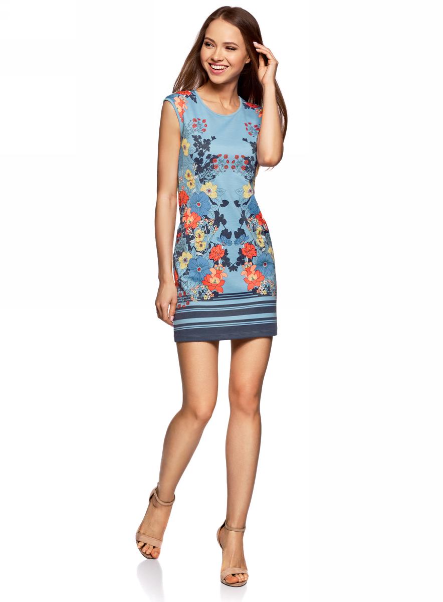 Платье жен oodji Ultra, цвет: голубой, красный, цветы. 14008014-4M/45396/7045F. Размер S (44)14008014-4M/45396/7045FПлатье трикотажное облегающего силуэта