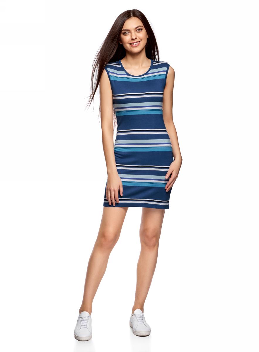 Платье жен oodji Ultra, цвет: синий, бирюзовый, полоски. 14008014-2/46898/7573S. Размер M (46)14008014-2/46898/7573SПлатье трикотажное облегающего силуэта