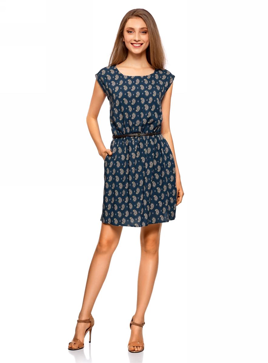 Платье жен oodji Ultra, цвет: синий, темно-бежевый. 11910073-1/26346/7535E. Размер 36-170 (42-170)11910073-1/26346/7535EПлатье вискозное с поясом