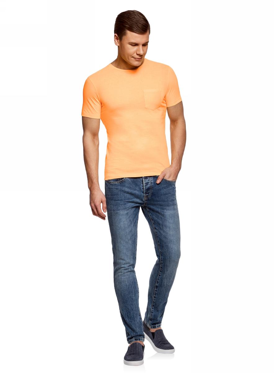 Футболка муж oodji Lab, цвет: оранжевый. 5L611376M/39485N/5500Y. Размер XXL (58/60)5L611376M/39485N/5500YФутболка хлопковая с нагрудным карманом