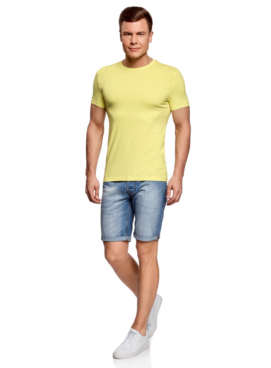 Футболка муж oodji Basic, цвет: желто-зеленый. 5B611004M/46737N/6700N. Размер XS (44)5B611004M/46737N/6700NФутболка хлопковая базовая