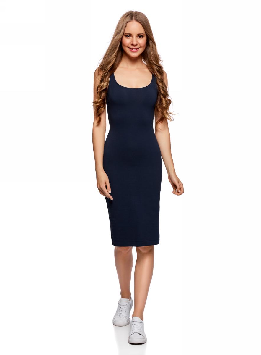 Платье жен oodji Ultra, цвет: темно-синий, 3 шт. 14015007T3/47420/7900N. Размер M (46)14015007T3/47420/7900NПлатье-майка (комплект из 3 штук)