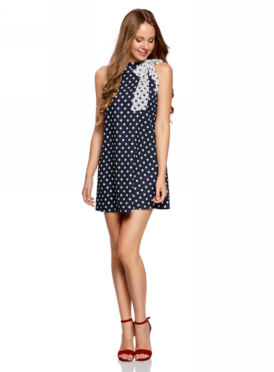 Платье жен oodji Ultra, цвет: темно-синий, белый, горох. 11914004/42818/7912D. Размер 36-170 (42-170)11914004/42818/7912DПлатье А-образного силуэта с бантом
