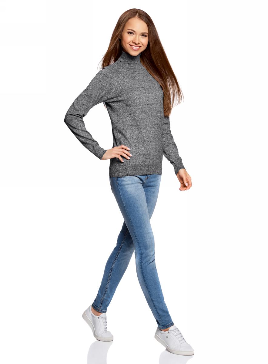 Свитер жен oodji Ultra, цвет: черный, белый меланж. 64412193B/46801/2910M. Размер XXS (40)64412193B/46801/2910MСвитер вязаный базовый