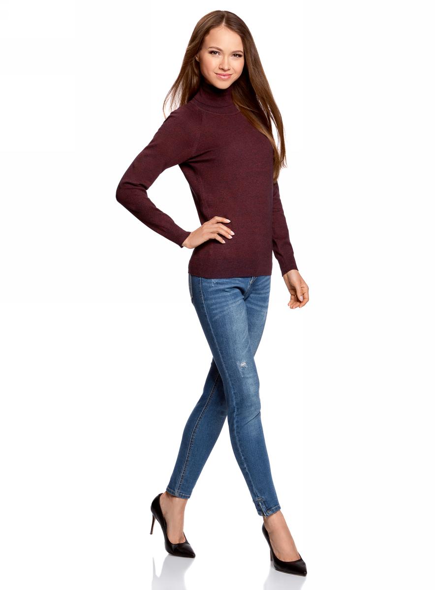 Свитер жен oodji Ultra, цвет: темно-синий, бордовый меланж. 64412193B/46801/7949M. Размер XL (50)64412193B/46801/7949MСвитер вязаный базовый