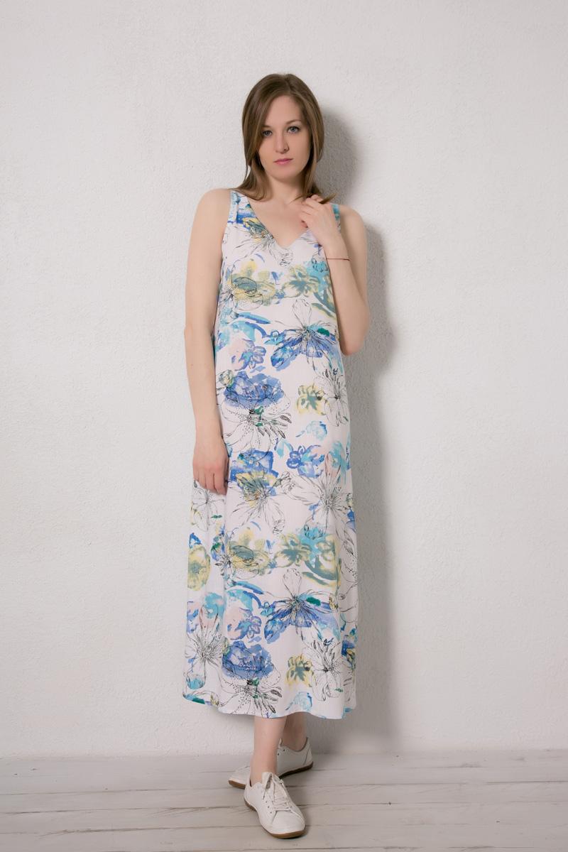 Платье домашнее Marusя Валентино, цвет: белый. 171229. Размер 44171229Домашнее платье Marusя изготовлено из натурального вискозного материала. Изделие длины макси свободного кроя без рукавов.