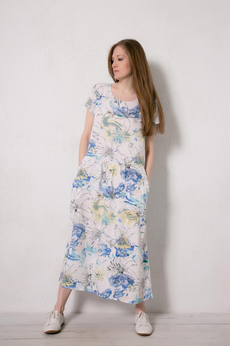 Платье домашнее Marusя, цвет: белый. 171224. Размер 44171224Домашнее платье Marusя изготовлено из натурального вискозного материала. Изделие длины макси свободного кроя с короткими рукавами. Модель дополнена карманами.