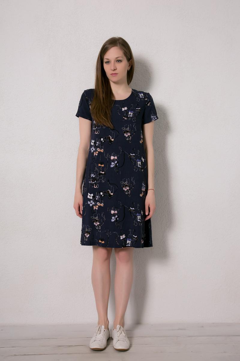 Платье домашнее Marusя, цвет: темно-синий, человечки. 171226. Размер 44171226Домашнее платье Marusя изготовлено из натурального вискозного материала. Изделие длины миди свободного кроя с короткими рукавами.