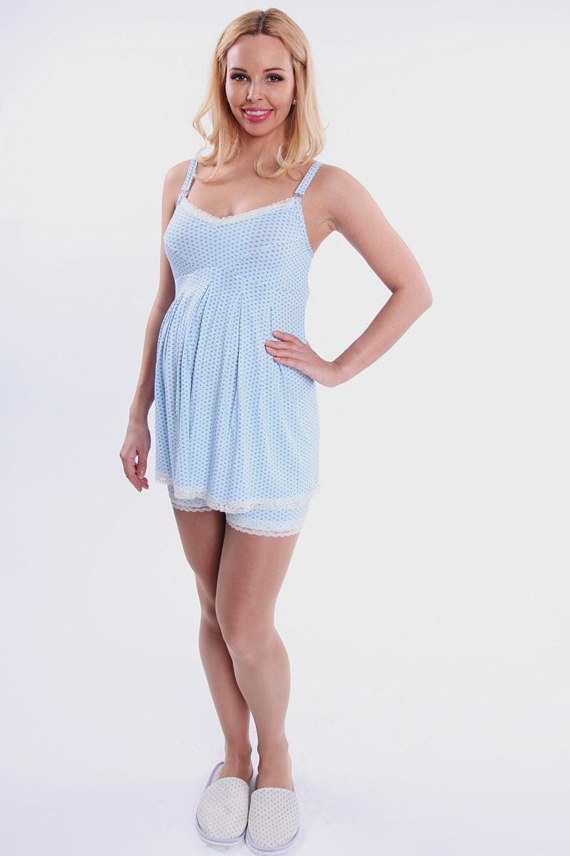 Пижама для беременных и кормящих Nuova Vita Allegro Mamma, цвет: голубой. 901.2. Размер 48901.2Симпатичная пижама Nuova Vita Allegro Mamma прекрасно подойдет как для беременных женщин, так и для кормящих мам. Пижама выполнена из очень приятного на ощупь материала качества суприм-вискоза. Майка для кормления с отстегивающимися бретелями дополнена удобными шортами. Двойная чашка состоит из отстегивающегося верхнего элемента и самой чашки с отверстием для груди. Горловина и низ майки отделаны кружевной лентой. Шортики имеют эластичную резинку под живот и по нижнему краю также оформлены кружевом. Мягкая и шелковистая на ощупь ткань позволит вам чувствовать себя еще более уютно. Пижама дарит комфорт при носке и позволяет коже дышать. Великолепный выбор на каждый день.