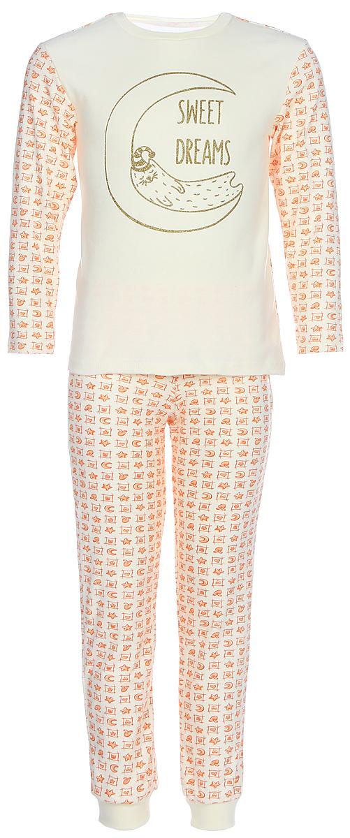Пижама для девочки КотМарКот, цвет: белый, оранжевый. 16125. Размер 11016125Пижама для девочки КотМарКот, состоящая из лонгслива и брюк, выполнена из натурального хлопка. Лонгслив с длинными рукавами и круглым вырезом горловины. Брюки имеют эластичную резинку на поясе. Низ брючин дополнен трикотажными манжетами.