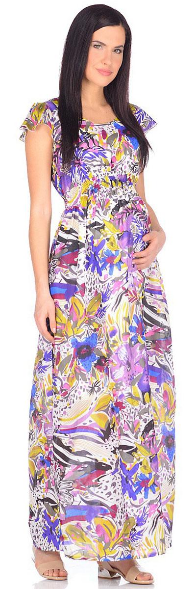 Платье для беременных и кормящих Mammy Size, цвет: белый, фиолетовый. 506941. Размер 44506941Яркое платье Mammy Size длины макси, выполненное из хлопчатобумажного набивного батиста, просто будоражит своим буйством красок. Платье имеет подкладку, поэтому модель отлично подходит не только для летнего, но и для весеннего периода. Для максимального удобства пояс платья стянут на нитку-резинку. Особую изюминку модели придают небольшие рукава-крылышки.