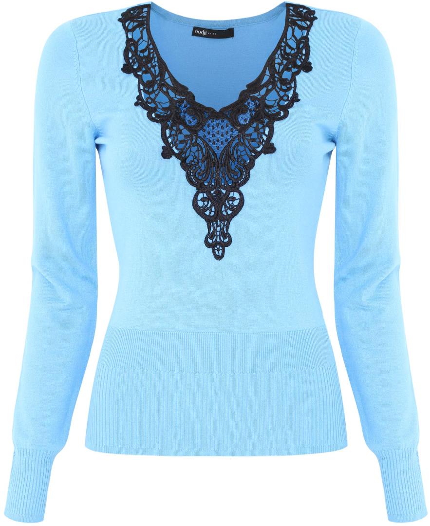 Джемпер жен oodji Collection, цвет: синий, черный. 73812547M/19704/7529B. Размер 40 (46)73812547M/19704/7529BДжемпер комбинированный