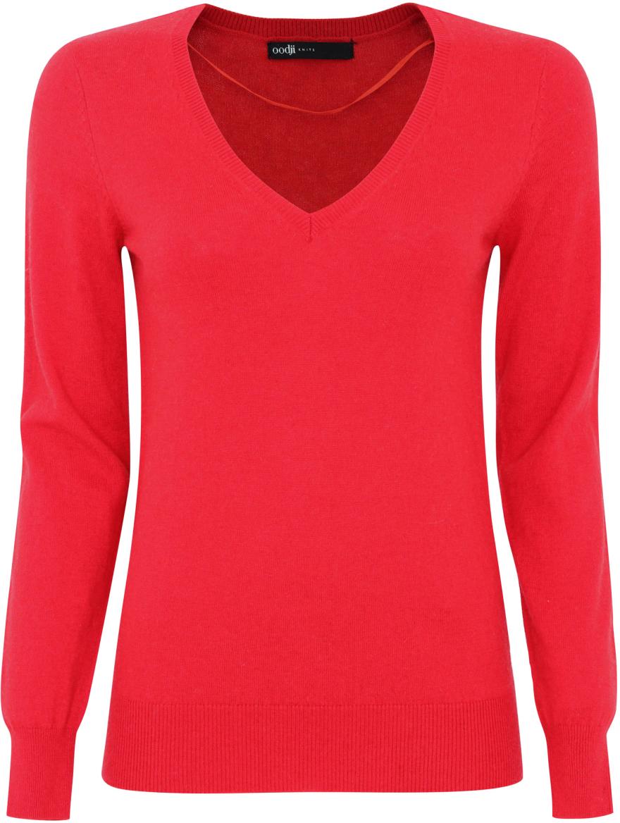Джемпер жен oodji Collection, цвет: красный. 73812473-1/35160/4500N. Размер 38 (44)73812473-1/35160/4500NДжемпер