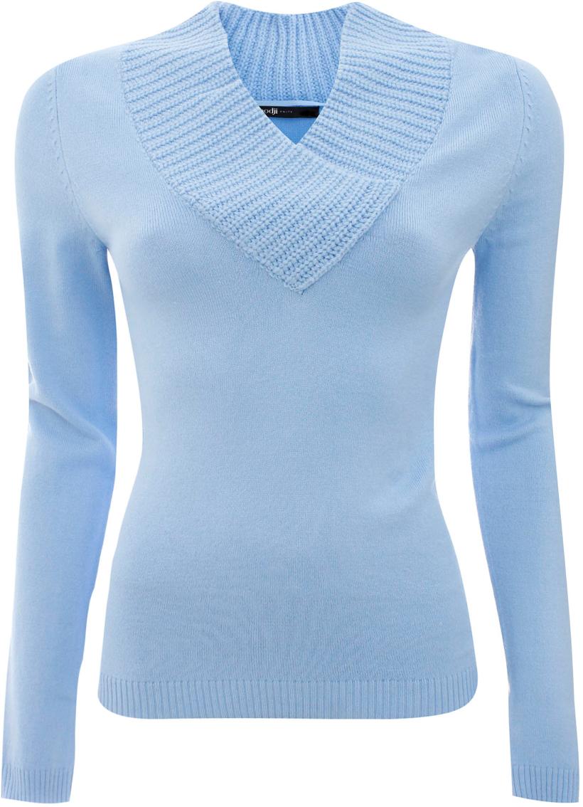 Джемпер жен oodji Ultra, цвет: голубой. 63810020-1/33369/7000N. Размер 36 (42)63810020-1/33369/7000NДжемпер