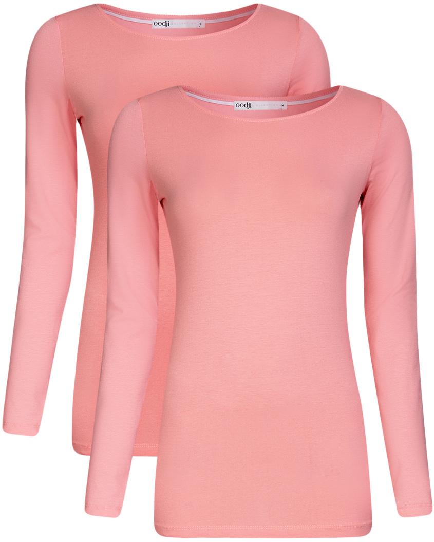 Футболка жен oodji Collection, цвет: розовый, 2 шт. 24201007T2/46147/4100N. Размер XS (42)24201007T2/46147/4100NФутболка с длинным рукавом (комплект из 2 штук)