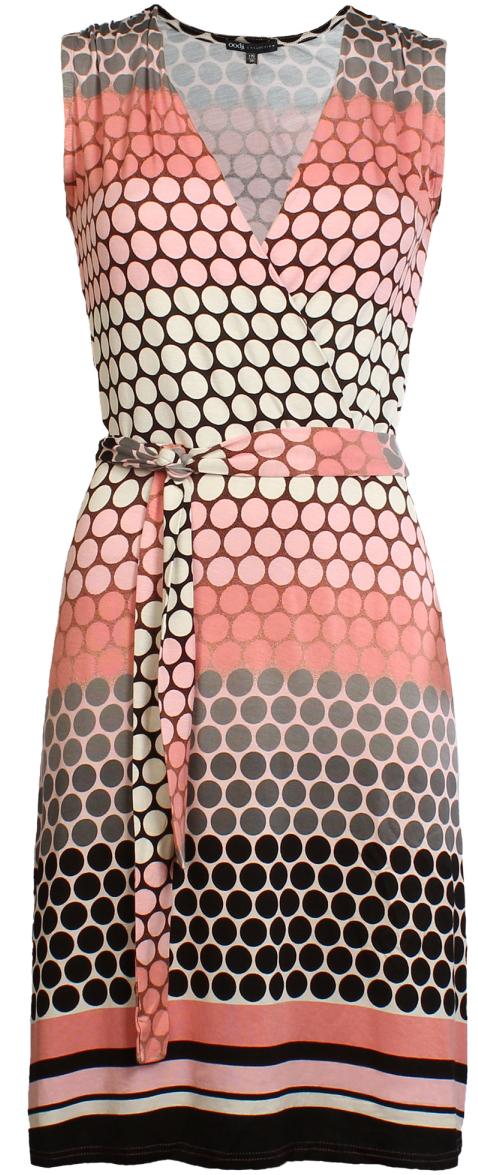 Платье жен oodji Collection, цвет: розовый, черный, горох. 24005065/19768/4129D. Размер 36-170 (42-170)24005065/19768/4129DТрикотажное платье