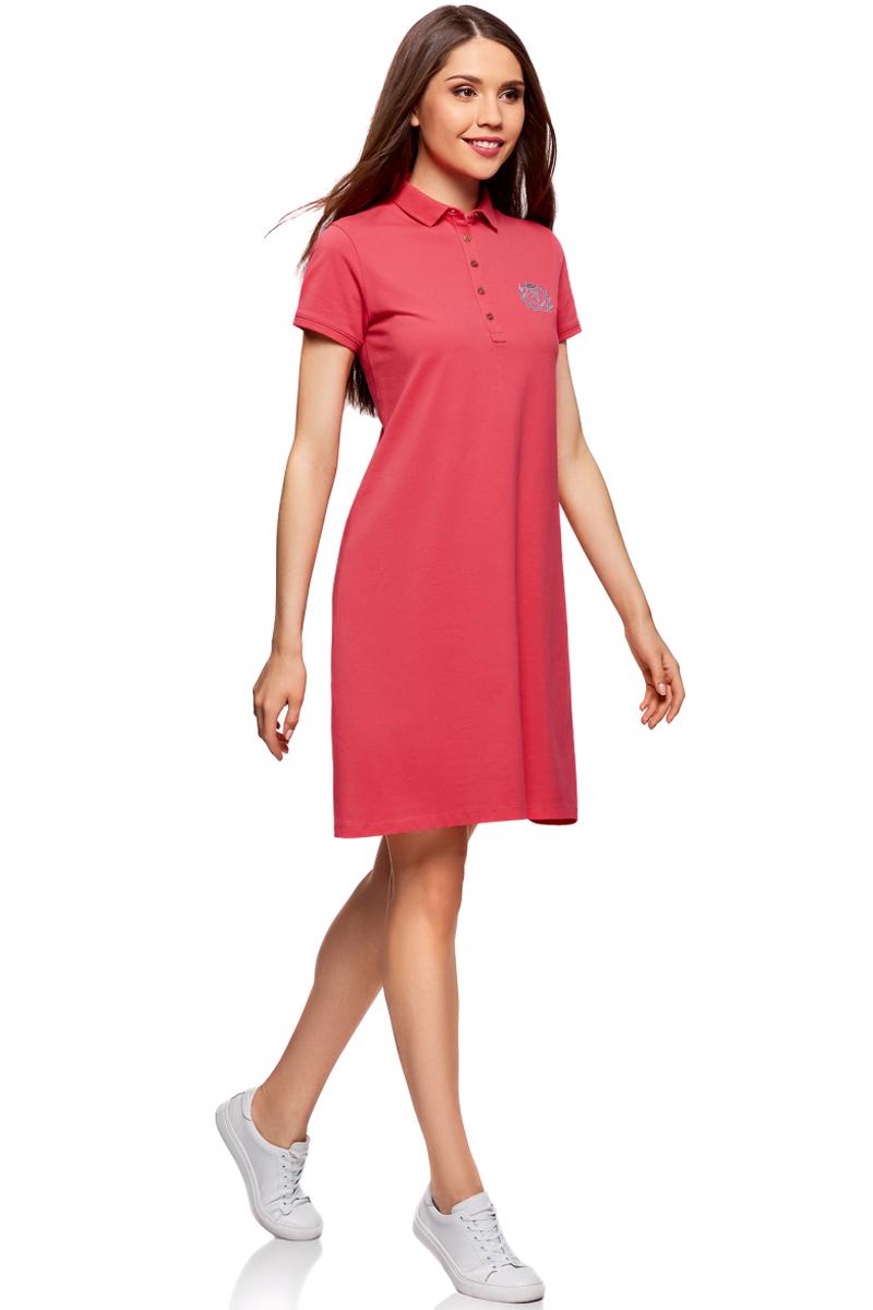 Платье жен oodji Collection, цвет: ярко-розовый. 24001118-1/47005/4D00N. Размер L (48)24001118-1/47005/4D00NПлатье поло из ткани пике