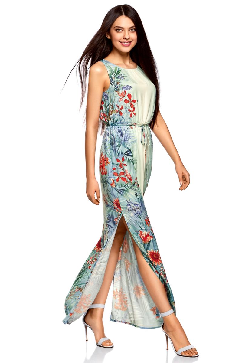 Платье жен oodji Collection, цвет: бирюзовый, красный, цветы. 21900323-5M/42873/7345F. Размер 44-170 (50-170)21900323-5M/42873/7345FПлатье макси с резинкой на талии и завязками
