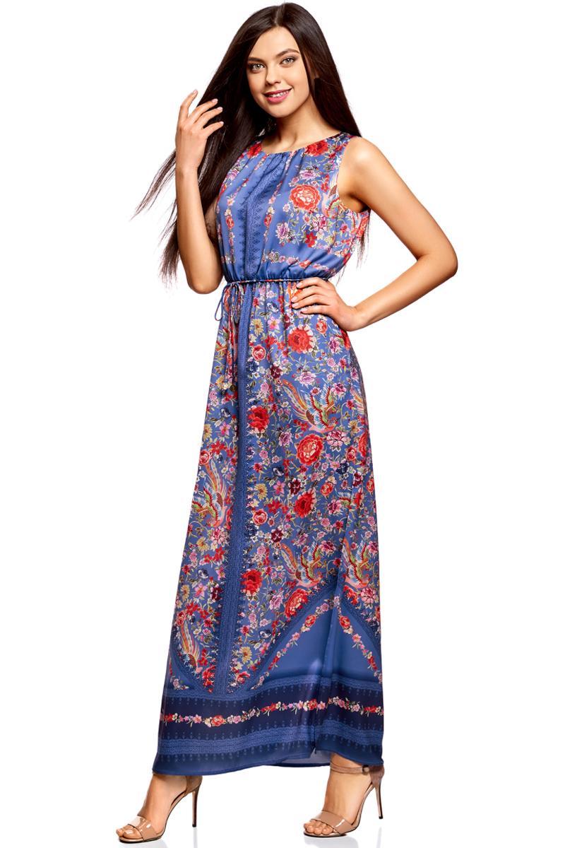 Платье жен oodji Collection, цвет: синий, красный, цветы. 21900323-3M/42873/7545F. Размер 42-164 (48-164)21900323-3M/42873/7545FПлатье макси с резинкой на талии и завязками